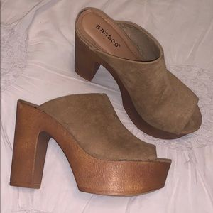 Bamboo faux suede camel clog heels size 6 1/2